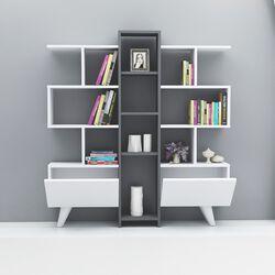 HOMEMANIA Libreria asrin, bianco, antracite, , large