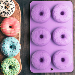 Stampo in silicone per 6 donut con decorazioni, , large