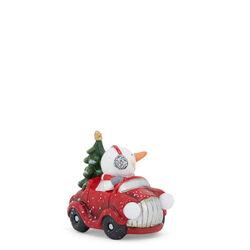 Auto decorativa con fari luminosi - Pupazzo di Neve, , large