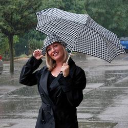 Set ombrello + cappello da pioggia fantasia pied-de-poule, , large