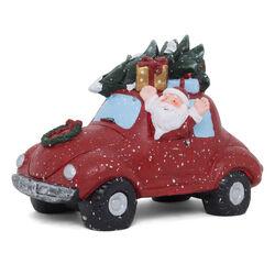 Maxi decorazione natalizia a forma di auto con Babbo Natale, con luci e musica, , large