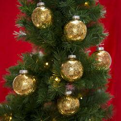 Set 6 palline dorate per albero di Natale, , large