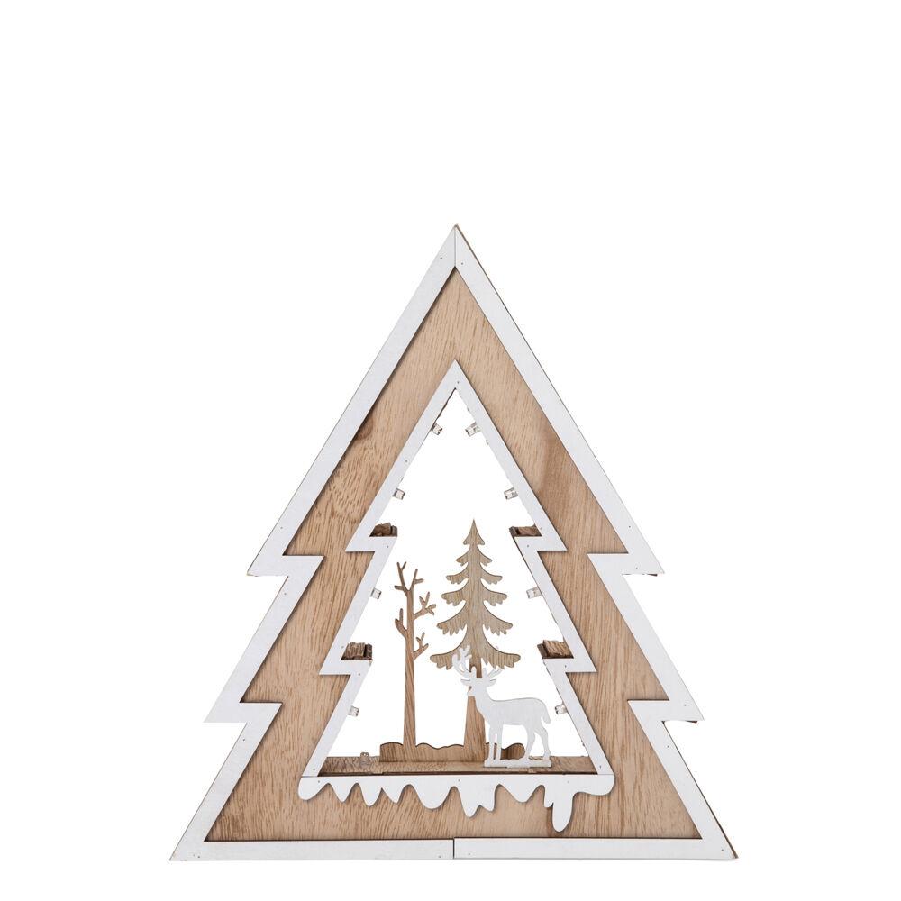 Décoration en bois illuminée en forme de sapin de Noël, , large