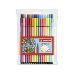 STABILO Pen 68 - Astuccio da 30 (24 base + 6 Neon) - Colori assortiti, , large