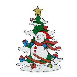 Vetrofania natalizia Pupazzo di neve e abete, , large