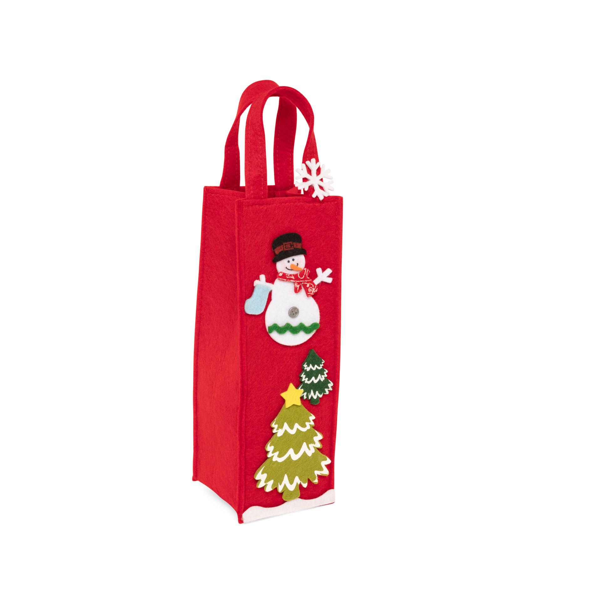 Sac porte-bouteille de Noël rouge, rouge, large