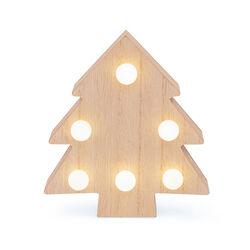 Abete in legno con luci LED, , large