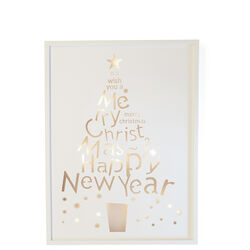 QUADRO NATALIZIO IN LEGNO CON LUCE - HAPPY NEW YEAR, , large