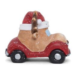 Maxi decorazione natalizia a forma di auto con renna, con luci e musica, , large