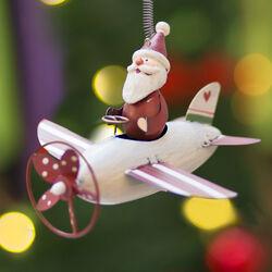 Aeroplano natalizio con molla da appendere Babbo Natale, , large
